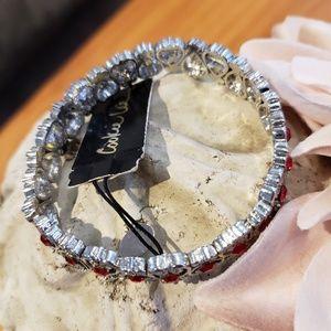 Cookie Lee Jewelry - NWT| Ruby Red Crystal Scroll Stretch Bracelet